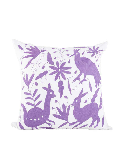 Tenango Embroidered Pillow - Lavender