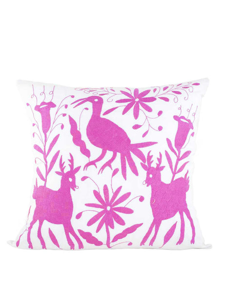 Tenango Embroidered Pillow - Magenta