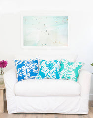 Fair Trade Handmade Turquoise Embroidered Pillow