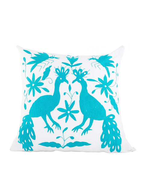 Tenango Embroidered Pillow - Turquoise