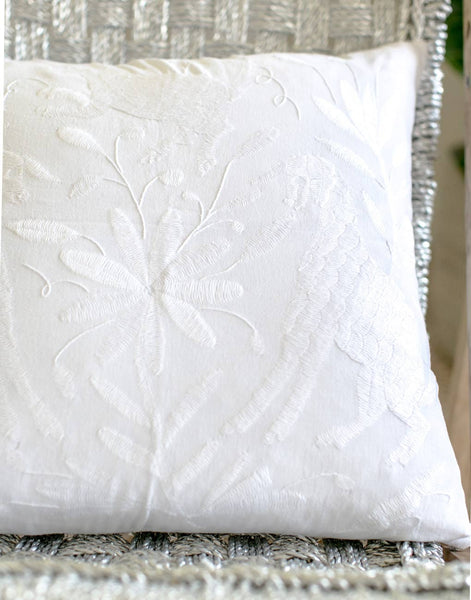 Fair Trade, Handmade White Embroidered Pillow