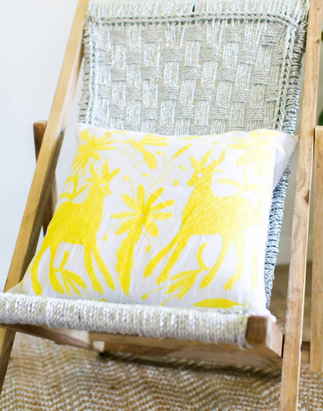 Tenango Embroidered Pillow - Yellow