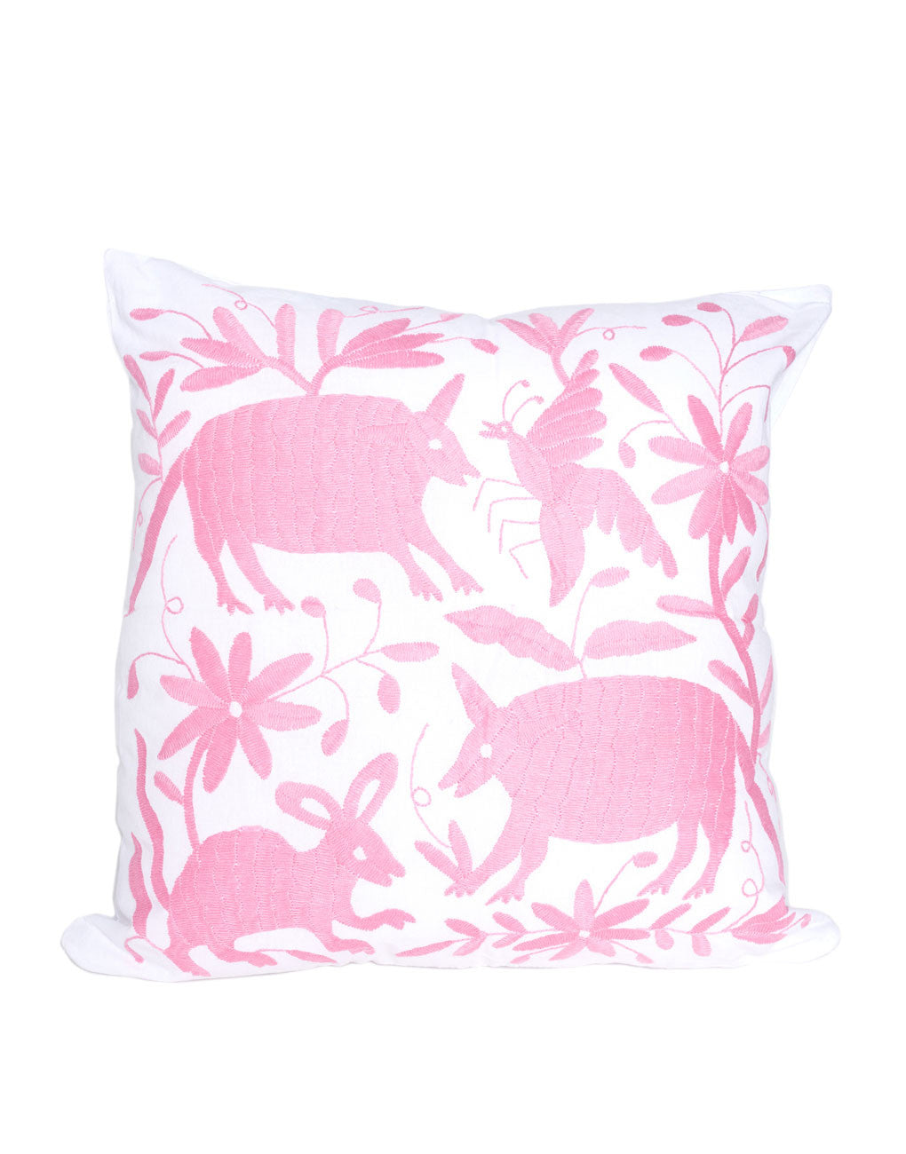 Tenango Embroidered Pillow - Pink