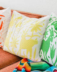 Fair Trade Handmade Yellow Cotton Pillow