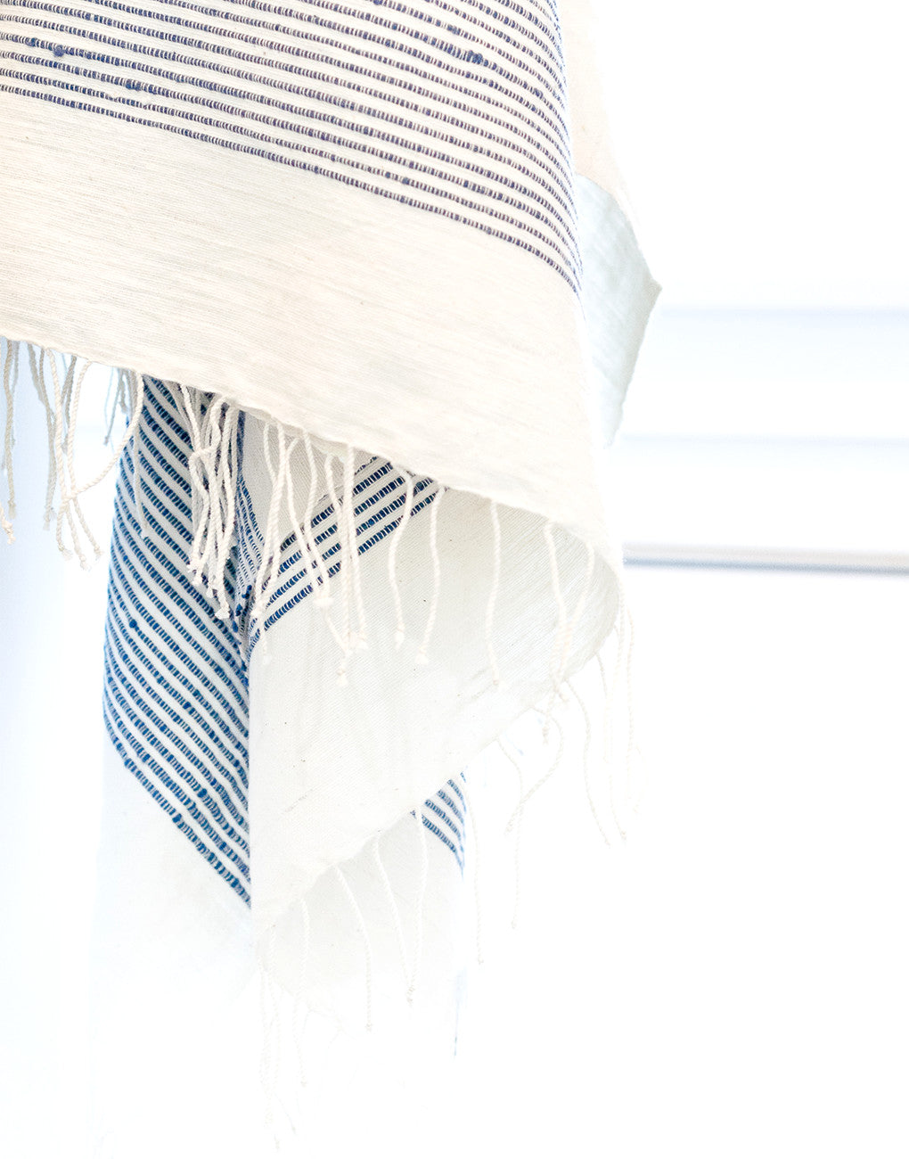 Fair Trade, Handmade Ethiopian Cotton Bath Towel, Navy & White