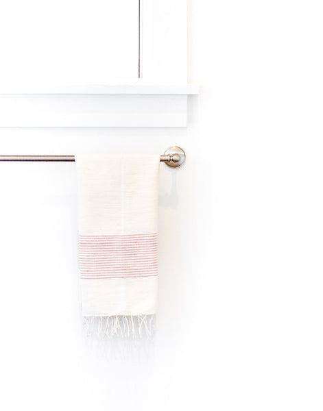Fair Trade, Handmade Ethiopian Cotton Hand Towel, Blush & White