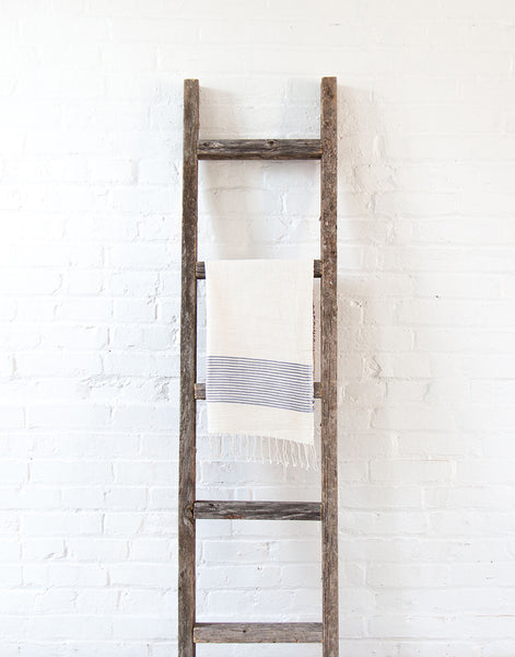 Fair Trade, Handmade Ethiopian Cotton Hand Towel, Navy & White