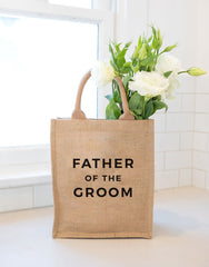 Medium Father Of The Groom Reusable Gift Tote In Black Font With Flowers Inside | The Little Market