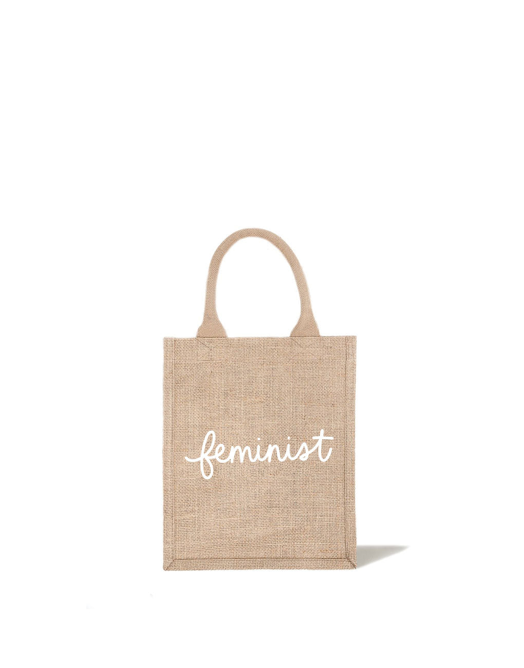Medium Feminist Reusable Gift Tote In White Font | The Little Market