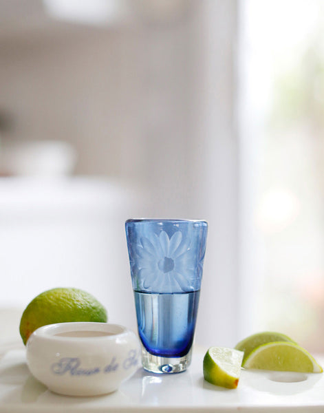 Fair Trade French Blue Hand-Etched Flower Recycled Shot Glass
