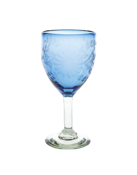 French Blue Wine Glass