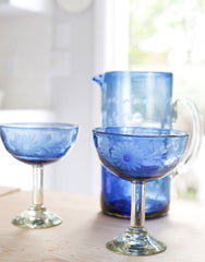 Fair Trade Hand-Etched Recycled French Blue Margarita Glass