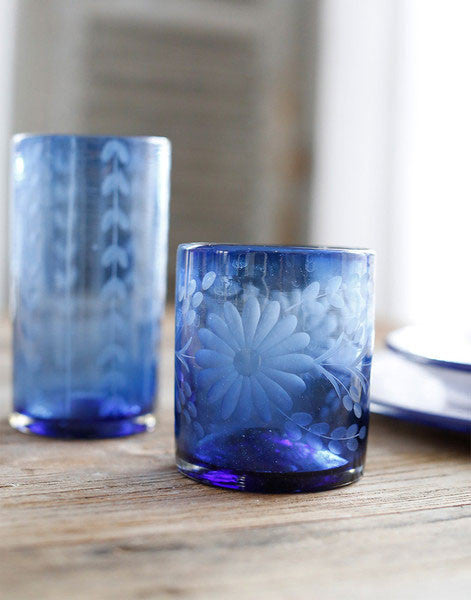 Fair Trade French Blue Hand-Etched Flower Recycled Glass Drinking Glassware