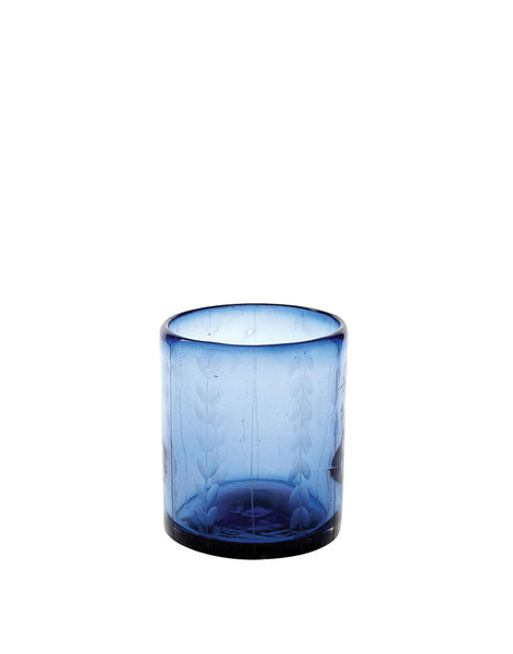 French Blue Short Leaves Glass