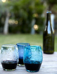 Fair Trade Hand-Etched Recycled French Blue Wine Glass