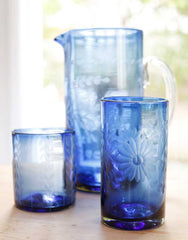 Fair Trade French Blue Hand-Etched Flowers Recycled Glass Drinking Glassware