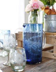 Fair Trade French Blue Hand-Etched Recycled Glass Pitcher