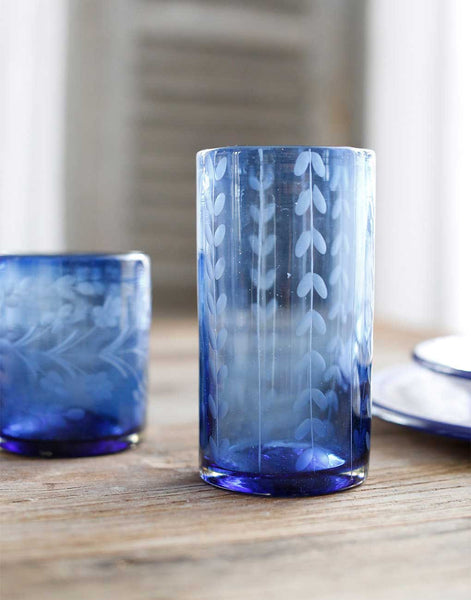 Fair Trade French Blue Hand-Etched Leaves Recycled Glass Drinking Glassware