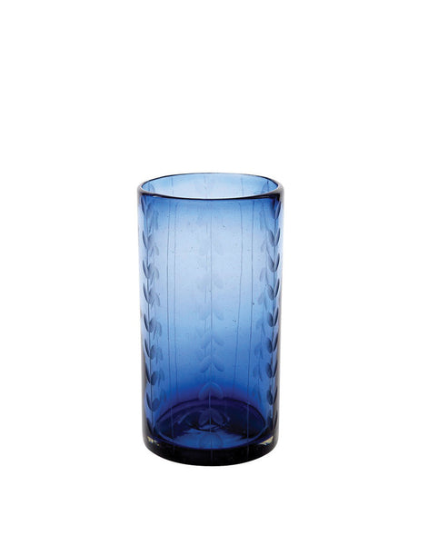 French Blue Tall Leaves Glass