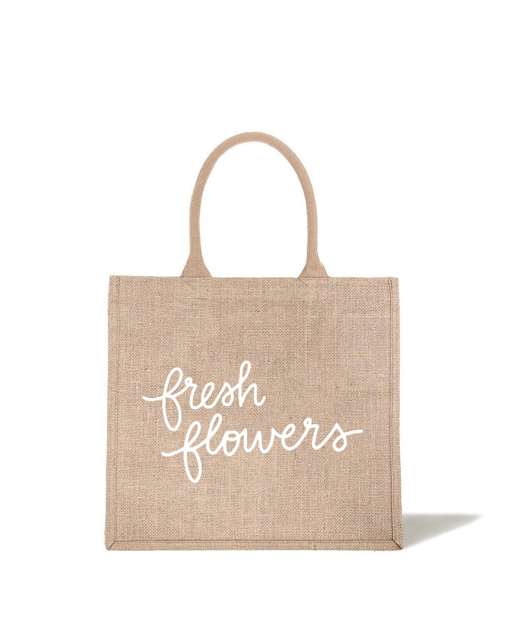 Large Fresh Flowers Reusable Shopping Tote In White Font | The Little Market