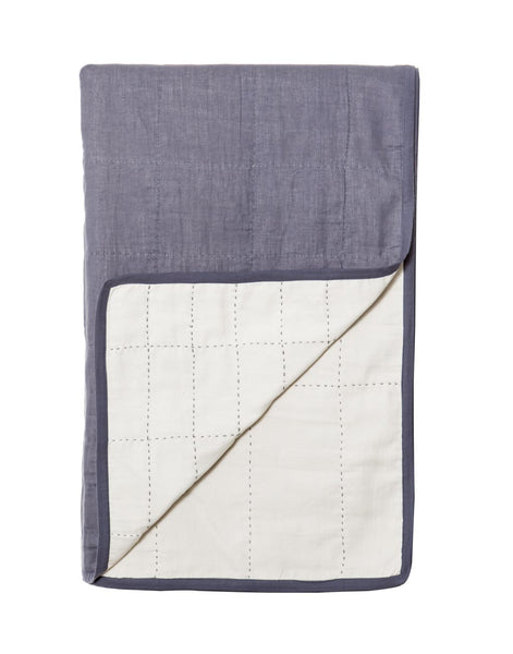 Grid Quilt - White + Navy