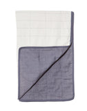 White And Navy Grid Quilt | The Little Market