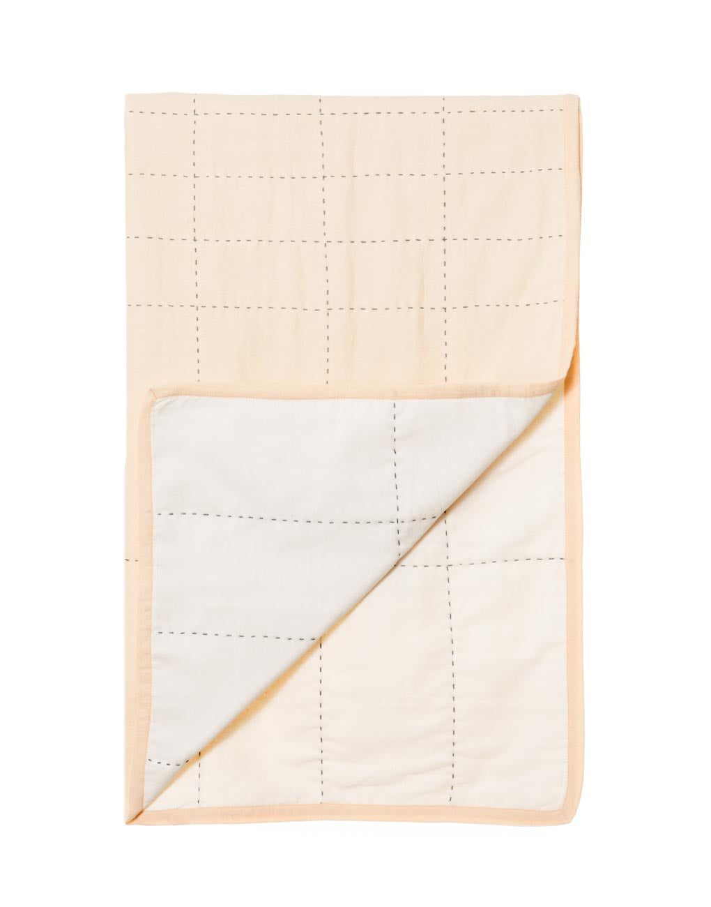 White And Peach Grid Quilt | The Little Market