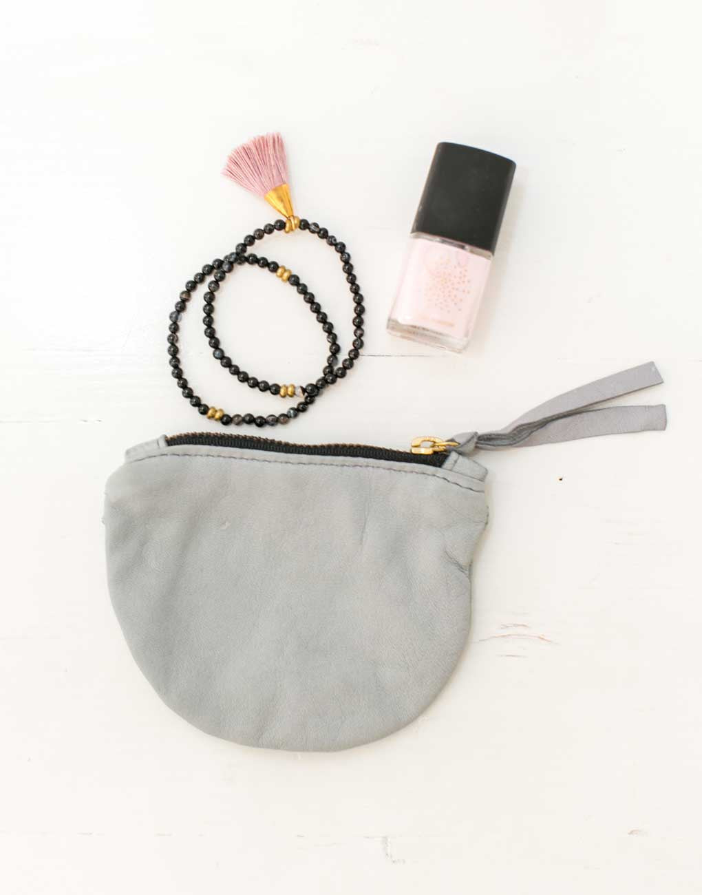 Fair Trade Half Moon Gray Leather Coin Pouch