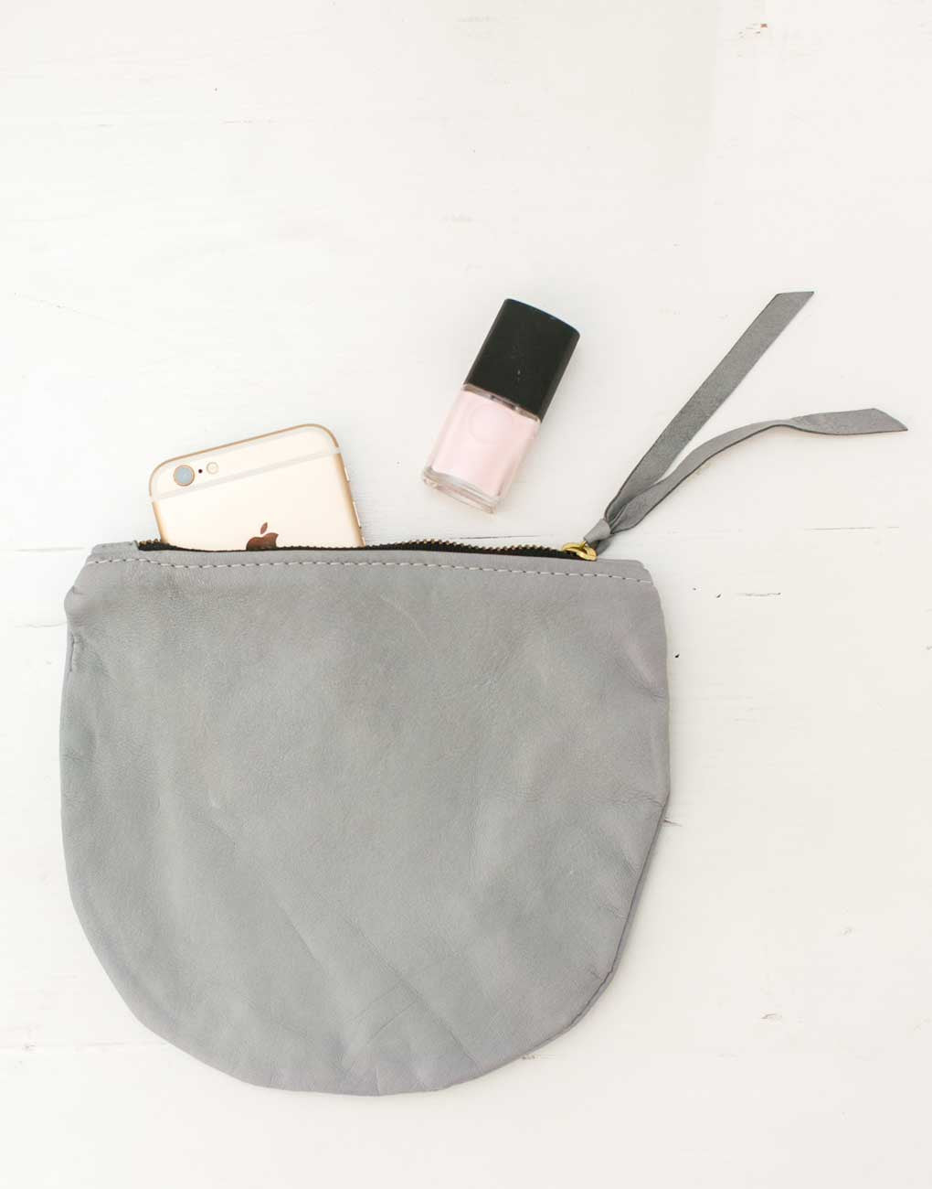 Fair Trade Half Moon Gray Leather Pouch