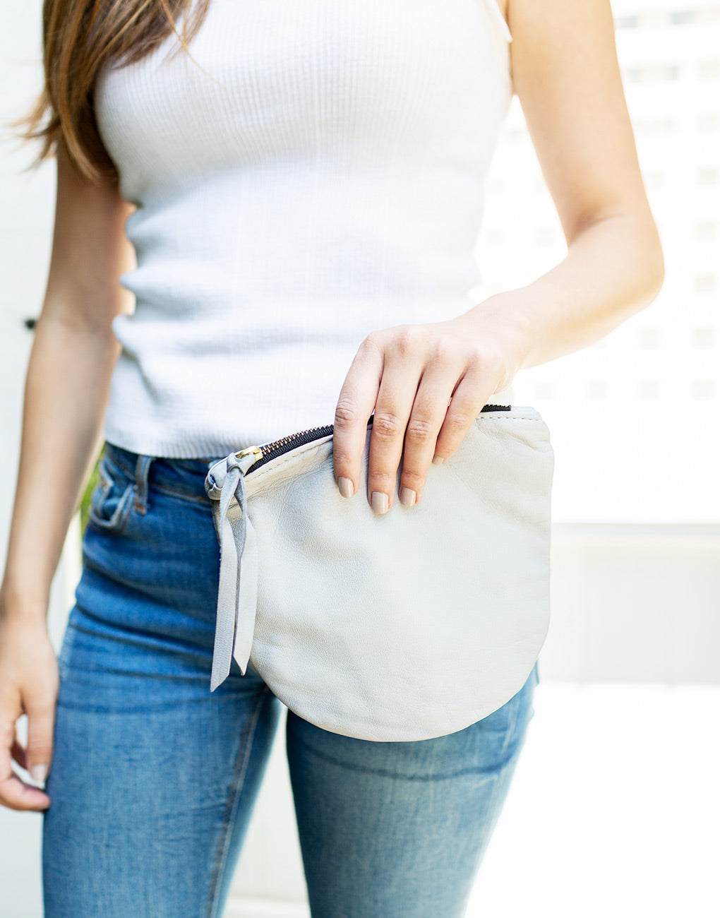 Half Moon Leather Pouch - Gray