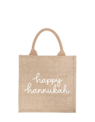 Large Happy Hannukah Reusable Gift Tote In White Font | The Little Market
