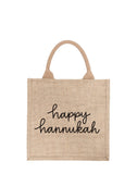 Large Happy Hannukah Reusable Gift Tote In Black Font | The Little Market