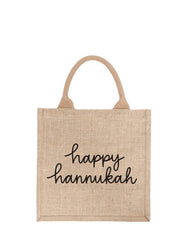 Large Happy Hannukah Purposefull Gift Tote In Black Font | The Little Market