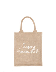 Medium Happy Hannukah Reusable Gift Tote In White Font | The Little Market