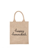 Medium Happy Hannukah Reusable Gift Tote In Black Font | The Little Market
