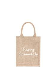 Small Happy Hannukah Reusable Gift Tote In White Font | The Little Market