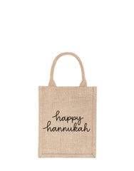 Small Happy Hannukah Reusable Gift Tote In Black Font | The Little Market