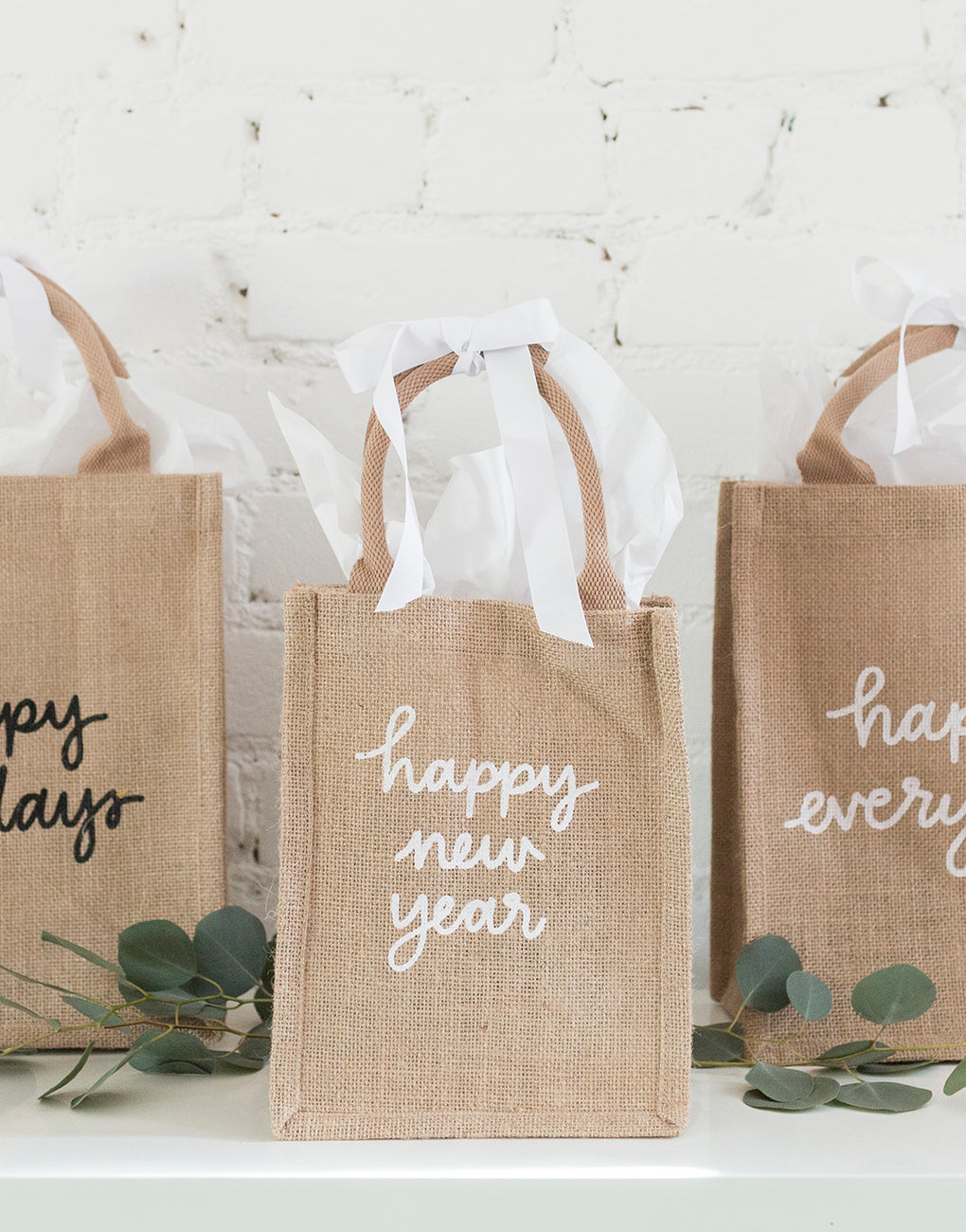 Small Happy New Year Reusable Gift Totes In Black And White Font | The Little Market