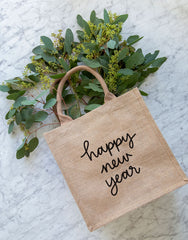 Large Happy New Year Reusable Gift Tote In Black Font | The Little Market