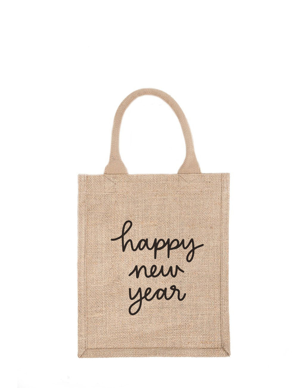 Medium Happy New Year Reusable Gift Tote In Black Font | The Little Market