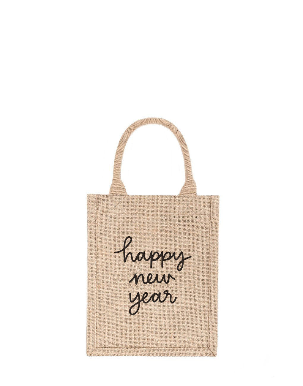 Small Happy New Year Reusable Gift Tote In Black Font | The Little Market