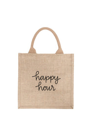 Large Happy Hour Reusable Gift Tote In Black Font | The Little Market