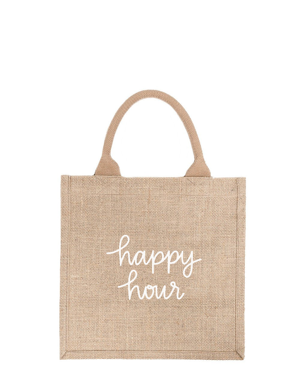 Large Happy Hour Reusable Gift Tote In White Font | The Little Market