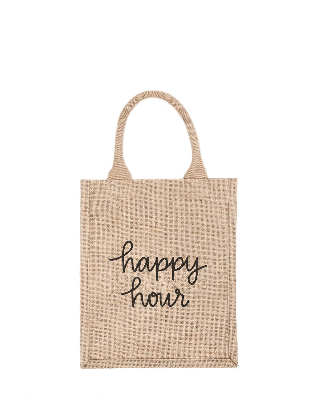 Medium Happy Hour Reusable Gift Tote In Black Font | The Little Market