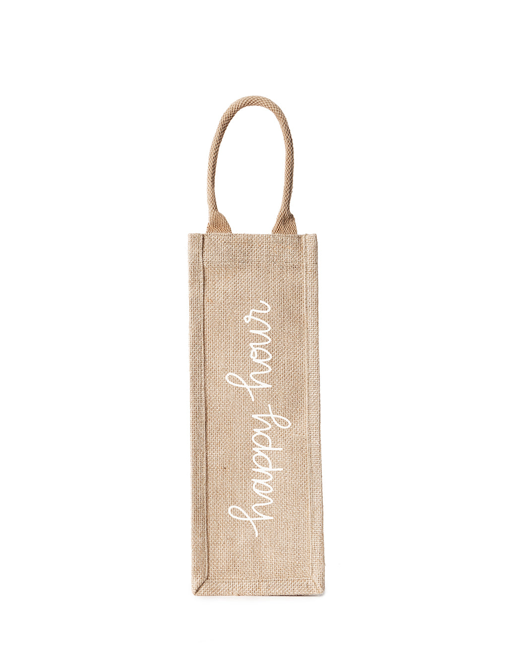 Happy Hour Reusable Wine Tote In White Font | The Little Market