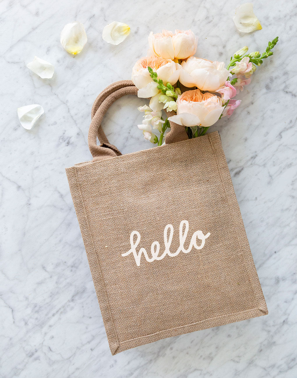 Medium Hello Reusable Gift Tote In White Font | The Little Market
