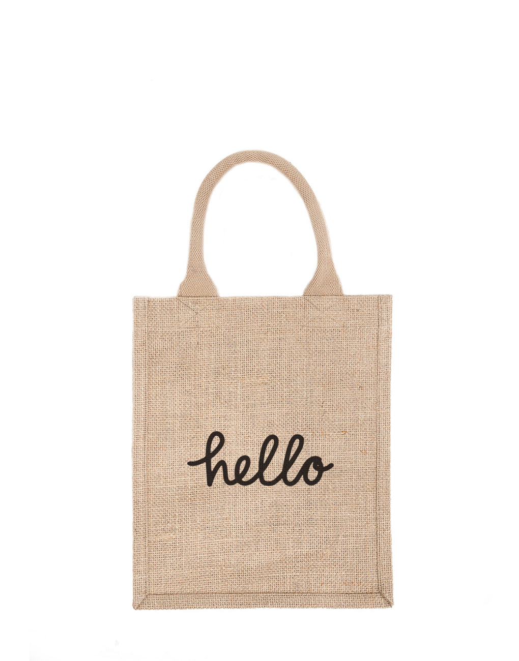 Medium Hello Reusable Gift Tote In Black Font | The Little Market