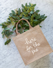 Large Here For The Pie Reusable Gift Tote In White Font | The Little Market