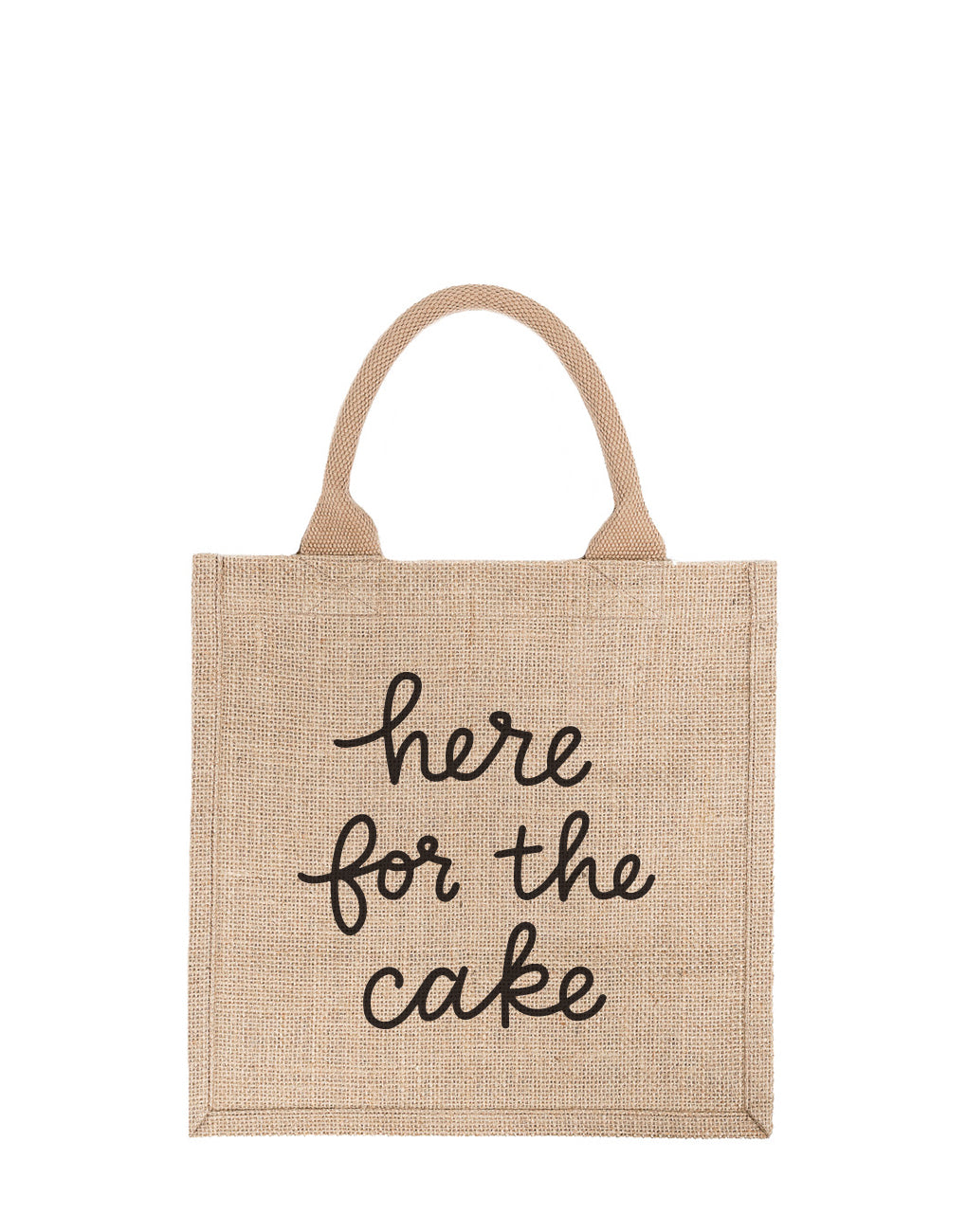 Large Here For The Cake Reusable Gift Tote In Black Font | The Little Market
