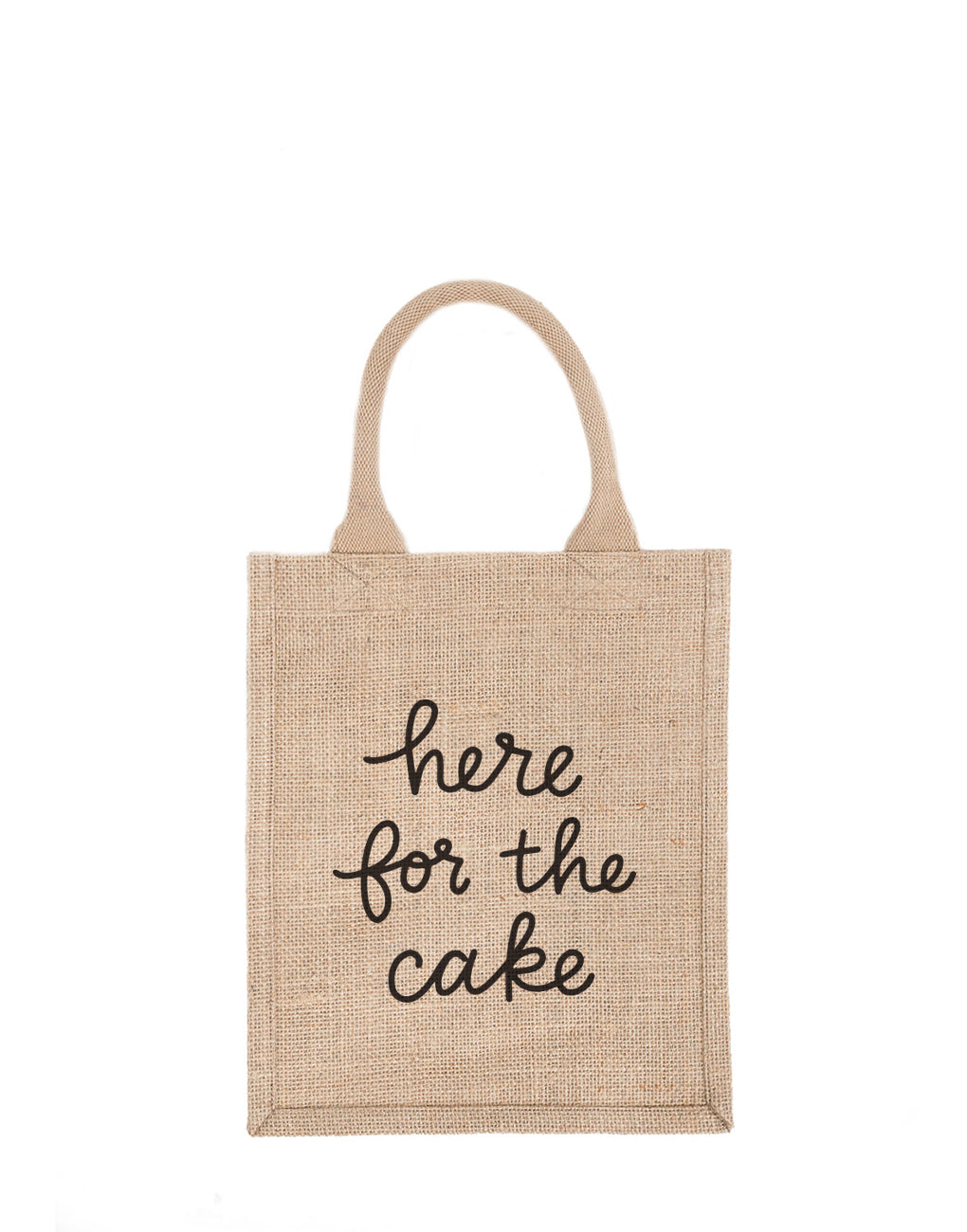 Medium Here For The Cake Reusable Gift Tote In Black Font | The Little Market